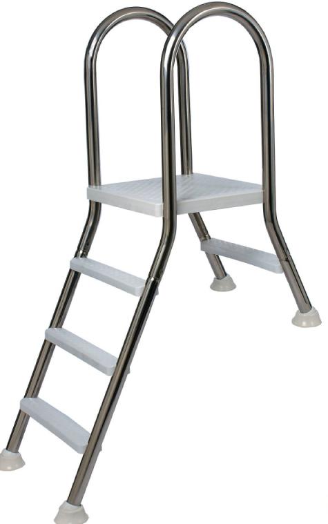 Tweezijdige rvs trap voor half inbouw 120cm fpn0414 b for Zwembad half inbouw