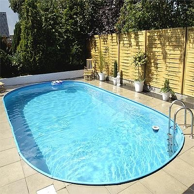 Zwembad set ovaal inbouw maatvoering ovaal 3 20 x 5 25 x 1 35 m boven rail click blauw - Zwembad kleur liner ...