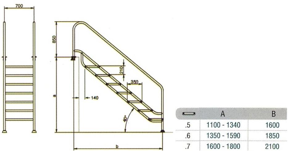 Rvs trap easy access land model 6 treden for Escalera piscina facil acceso
